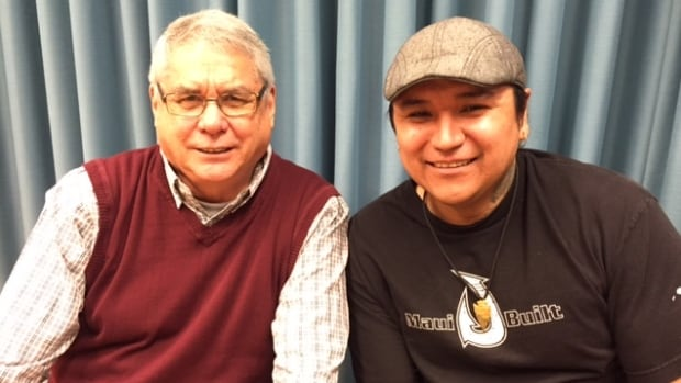 Doug Cuthand, left, and Randy Morin were involved with a television series which uses animation to tell indigenous stories.
