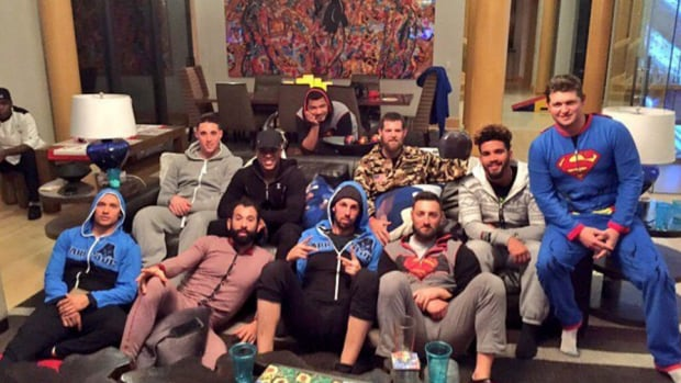 Some of the Toronto Blue Jays gathered at Jose Bautista's place Sunday night for a onesie-themed Super Bowl 50 party.