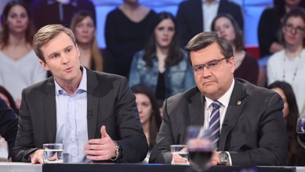 New Brunswick Premier Brian Gallant and Montreal Mayor Denis Coderre debated the Energy East pipeline project on Radio-Canada's talk show Tout le monde en parle.