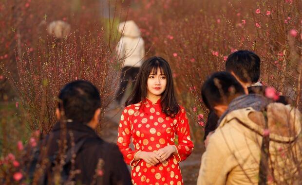 LUNAR-NEW YEAR ao dai long dress in Hanoi Vietnam Feb 2 2016