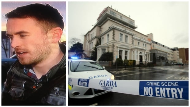 BBC sports reporter Kevin McAnena and a police cordon around Dublin's Regency Hotel on Friday