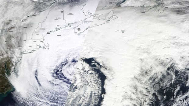 This high resolution satellite image of the current nor'easter is the result of two passes from the satellite, which accounts for the crease in the middle where the images have been patched together.