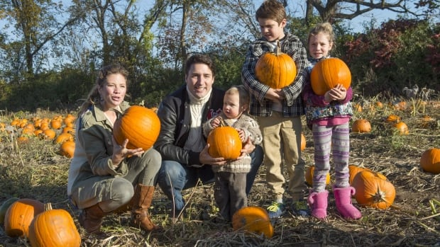 Justin Trudeau picks pumpkins with his wife Sophie and children Hadrien, Xavier, and Ella-Grace, left to right on Oct 12, 2015 before the election. Now he is prime minister, he is promising a lot of changes to the tax regime around families, but none are in effect for the 2015 tax year.
