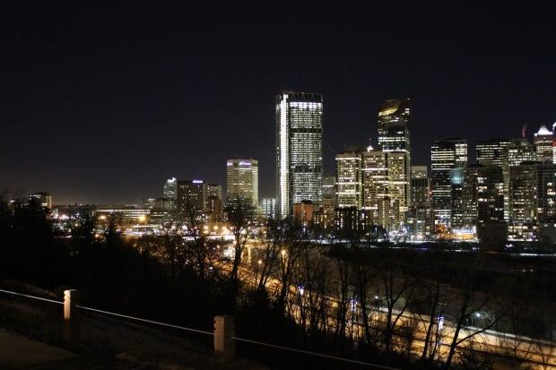 Calgary downtown night buildings