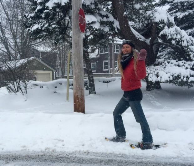Snowshoes earn their keep helping this commuter get out in Halifax.