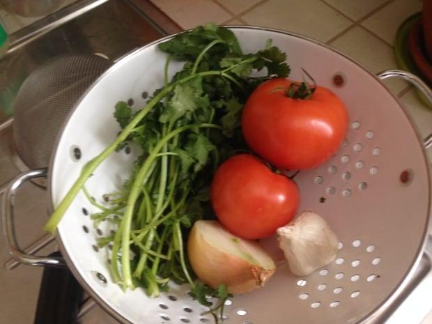 fresh veg for bean soup