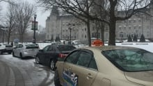 Taxi protest UberX outside National Assembly in Quebec City