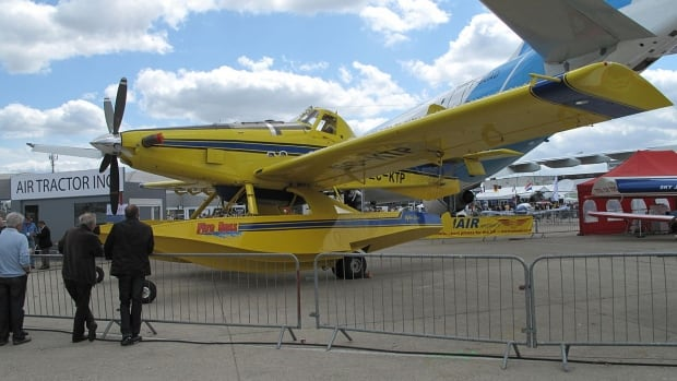 An Air Tractor 802 Fireboss on display at the Paris Air Show in 2009. The N.W.T. government has ordered eight of the brand new aircraft, which are being built in Texas, to replace its aging water bomber fleet.