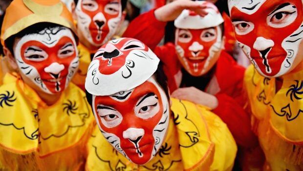 Lunar New Year in Glasgow Feb 7 2016 monkey masks