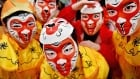 Lunar New Year in Glasgow Feb 7 2016 monkey masks
