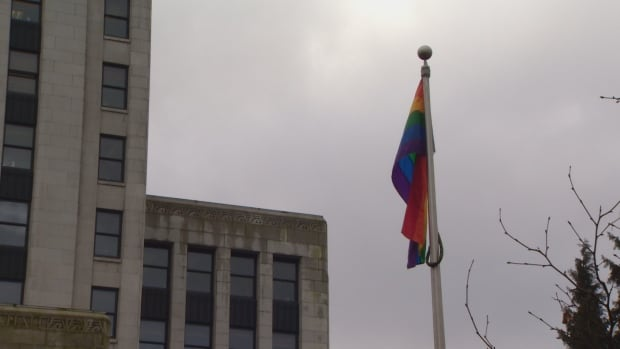 Vancouver raised the pride flag at city hall in solidarity today at Mayor Gregor Robertson's request, after the University of B.C.'s pride flag was burned last weekend.