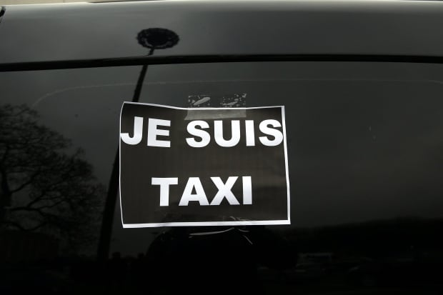 France anti Uber taxi Strikes Paris Jan 26 2016