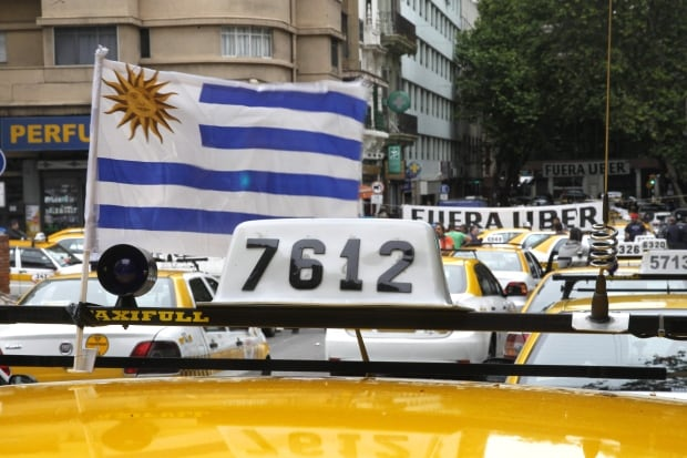 URUGUAY taxi drivers hold anti-Uber PROTEST Nov 13 2015