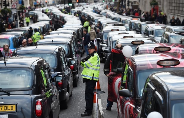 BRITAIN BLACK CAB drivers protest UBER in London on Feb 10 2016