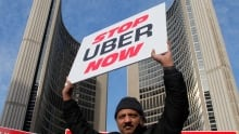 Toronto anti Uber protest cabbies block City Hall Dec 9 2015