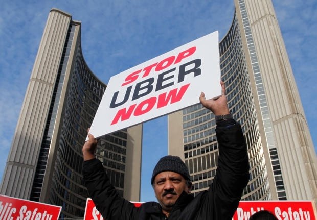 Toronto anti Uber protest cabbies block City Hall Dec 9 2015