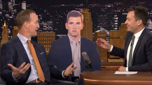 Peyton Manning visited Jimmy Fallon on the Tonight Show Wednesday and discussed his brother's infamous sad face.