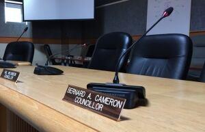 Bernard Cameron councillor desk town hall Mississippi Mills Feb 11 2016