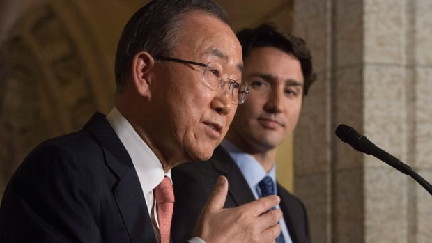 Prime Minister Justin Trudeau and United Nations Secretary General Ban Ki-moon take part in a joint news conference in the Foyer of the House of Commons on Parliament Hill in Ottawa, Thursday.