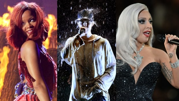 Rihanna, Justin Bieber and Lady Gaga are all set to take the Grammy stage to perform Monday night.