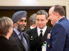 Defence Minister Harjit Sajjan helps announce Canada's plan to resettle 25,000 Syrian refugees during a press conference at the National Press Theatre in Ottawa on Tuesday, Nov. 24, 2015. Sajjan is uniquely qualified to know how Ottawa's abstract policy decisions can be bent, twisted and mangled in the far-flung corners of the globe ??? sometimes to the detriment of those in uniform.THE CANADIAN PRESS/Fred Chartrand