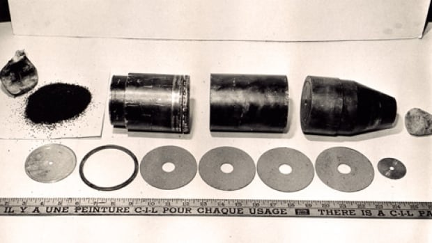 Contents from the balloon bomb found in Minton, Sask. in January 1945.