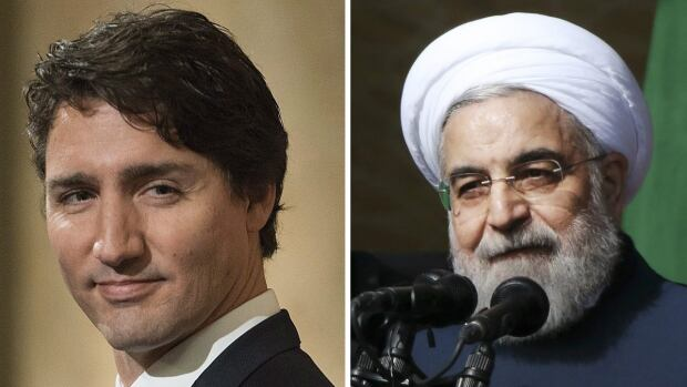 Prime Minister Justin Trudeau has pledged to restore relations with Iran and its president, Hassan Rouhani, right. Canada lifted its sanctions against the country this week, but diplomatic obstacles remain.