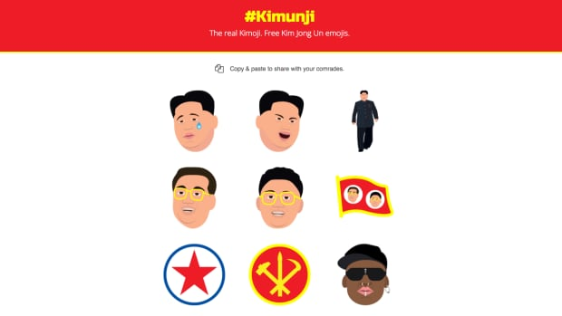 Kimunji, created by Texas-based graphic designer Ben Gillin, parodies Kim Kardashian West's 'Kimoji' app with the use of another very famous Kim.