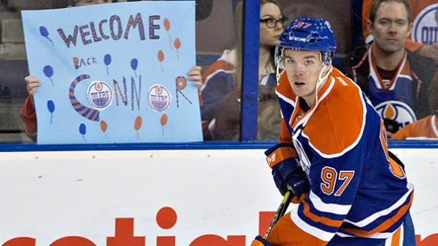 Edmonton Oilers' Connor McDavid skates during the warm up before taking on the Columbus Blue Jackets in Edmonton on Feb. 2, 2016.