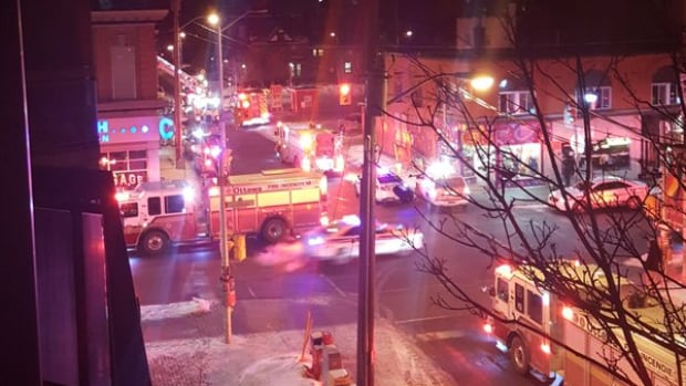 A neighbour shot this photo of police, firefighters and paramedics responding to a Thursday night fire on Gilmour Street.