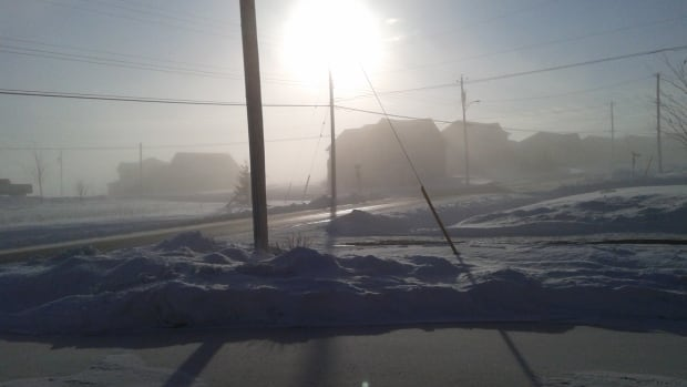A combination of fog and ice crystals in the air blocked out the sun on Friday morning in North Kentville.