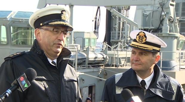 Rear Admiral John Newton and Capt. Gonzalo Villar Rodriguez