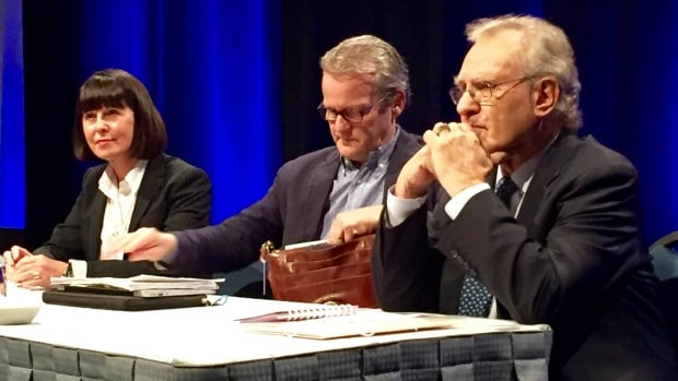 Stephen Lewis, right, was among the speakers during a discussion on student hunger at the annual Calgary teachers convention on Feb. 12, 2016.