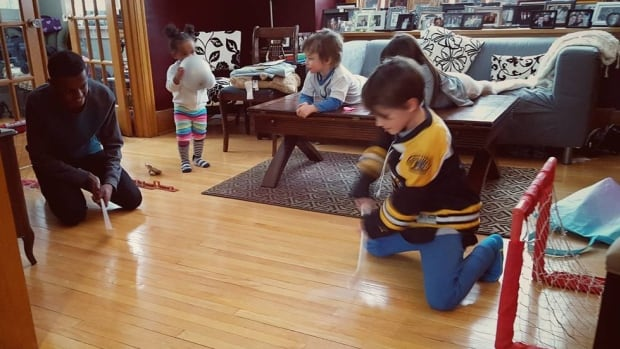 Members of a Somali refugee family in Winnipeg are making friends and learning hockey.