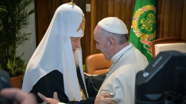 Russian Orthodox Church Patriarch Kirill, left, and Pope Francis meet at the Jose Marti International Airport in Havana on Friday, the first papal meeting between the Russian Orthodox and Catholic Church since the schism nearly 1,000 years ago that divided the two churches.