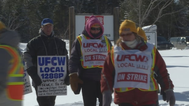 Some workers at Covered Bridge Potato Chips walk the picket line on Friday, striking over wages and seniority issues.