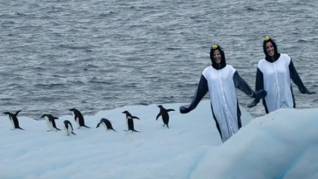 In this edited photo, Rachel Rauwerda and Stacey Collie are placed next to a group of penguins, as they model the costumes they'll wear when they run a half-marathon in Antarctica in March.