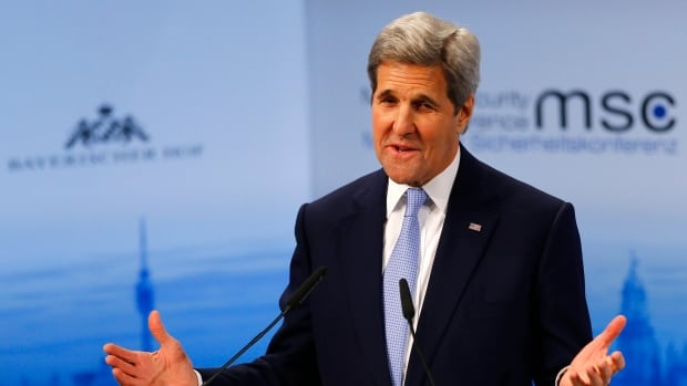 U.S. Secretary of State, John Kerry says sanctions on Russia will remain until the Minsk II agreement reached in February 2015 to resolve the conflict in eastern Ukraine is fully implemented.