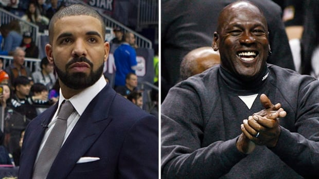 Drake, left, coached the Canadian celebrity team to a win over the U.S. on Friday in Toronto - but not before some pointers from NBA legend Michael Jordan, shown at right.