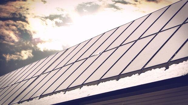Solar panels on garages in Drake Landing in Okotoks
