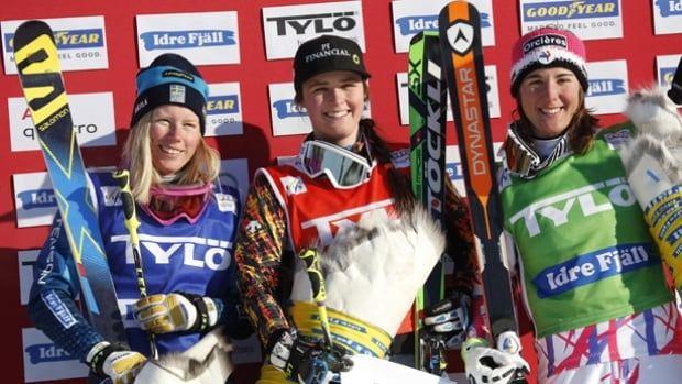 Winner Marielle Thompson of Canada, centre, second placed Sweden's Sandra Naslund, left, and third placed Alizee Baron of France pose on the podium after the freestyle ski cross World Cup in Idre Fjall, Sweden, Sunday Feb. 14, 2016.