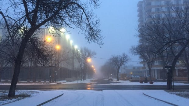 Expect some light snow starting around noon in Regina.