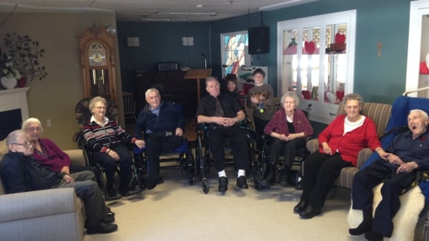 Four couples now live together in the Tabusintac Nursing Home. Staff say keeping families close is beneficial for the health of elderly persons. L-R: Marven and Helen Harding, Jean and Boucher Palmer, Dougie and Jackie Price with grandchildren Nick and Josh Hamann and Florence and Edgar Robichaud.