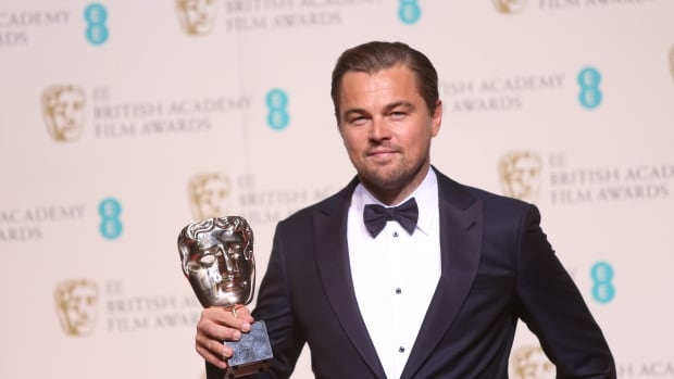 Actor Leonardo Di Caprio with his award at the BAFTAs Sunday for his portrayal of Hugh Glass in The Revenant.