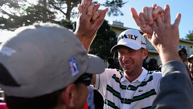 Vaughn Taylor reacts after winning the AT&T Pebble Beach National Pro-Am at the Pebble Beach Golf Links on Sunday in California.