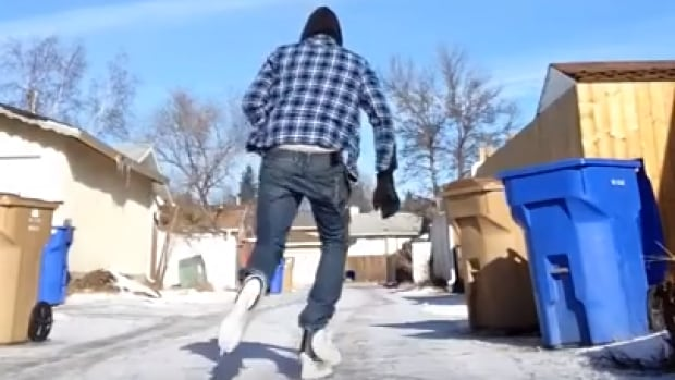 Regina resident Nolan Hubbard-Richards put on his skates instead of running shoes to get his exercise outside on Friday, Feb. 12, 2016.