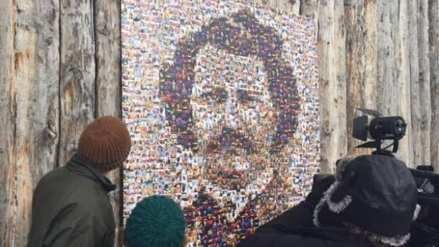 A mosaic of photos, assembled into an image of Louis Riel, is on display at the Festival du Voyageur site.