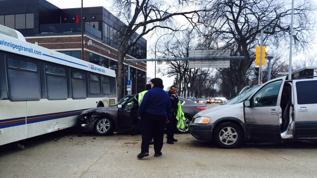 Emergency workers were on scene after a Winnipeg Transit bus was involved in a collision in downtown Winnipeg.
