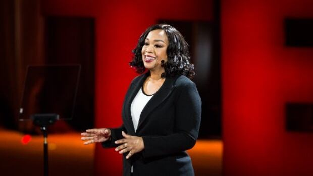 Shonda Rhimes on stage at the TED 2016 conference in Vancouver, saying yes to less work and more play.