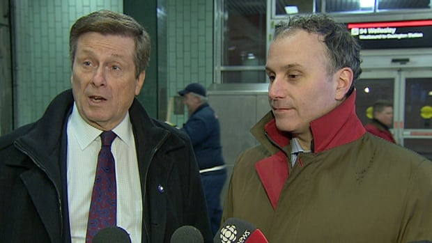 Mayor John Tory, left, and TTC Chair Josh Colle were at Wellesley station Tuesday morning to tout expanded TTC bus service.